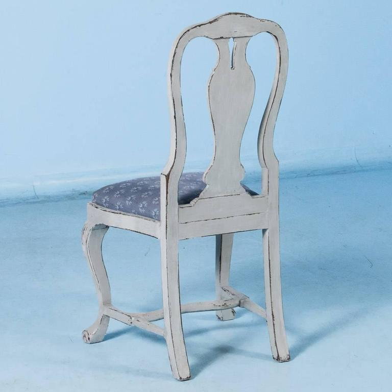 Wood Set of Six Antique 19th Century Swedish Gustavian Dining Chairs with Gray Paint For Sale
