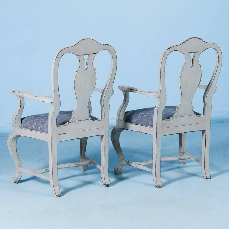 Set of Six Antique 19th Century Swedish Gustavian Dining Chairs with Gray Paint For Sale 2