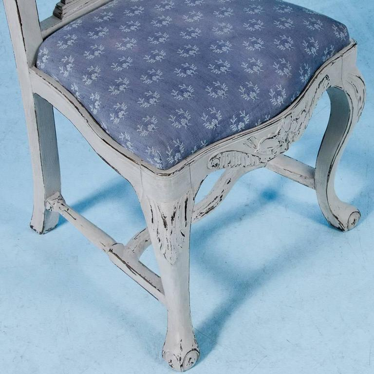 Set of Six Antique 19th Century Swedish Gustavian Dining Chairs with Gray Paint For Sale 5