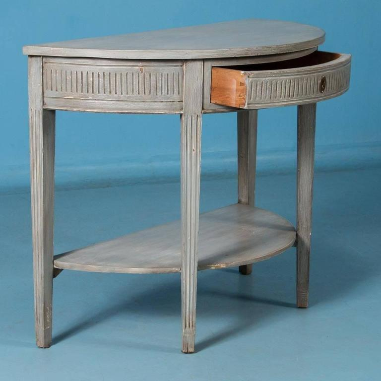 Antique 19th century swedish gustavian demilune console table painted gray for sale at 1stdibs White demilune console table