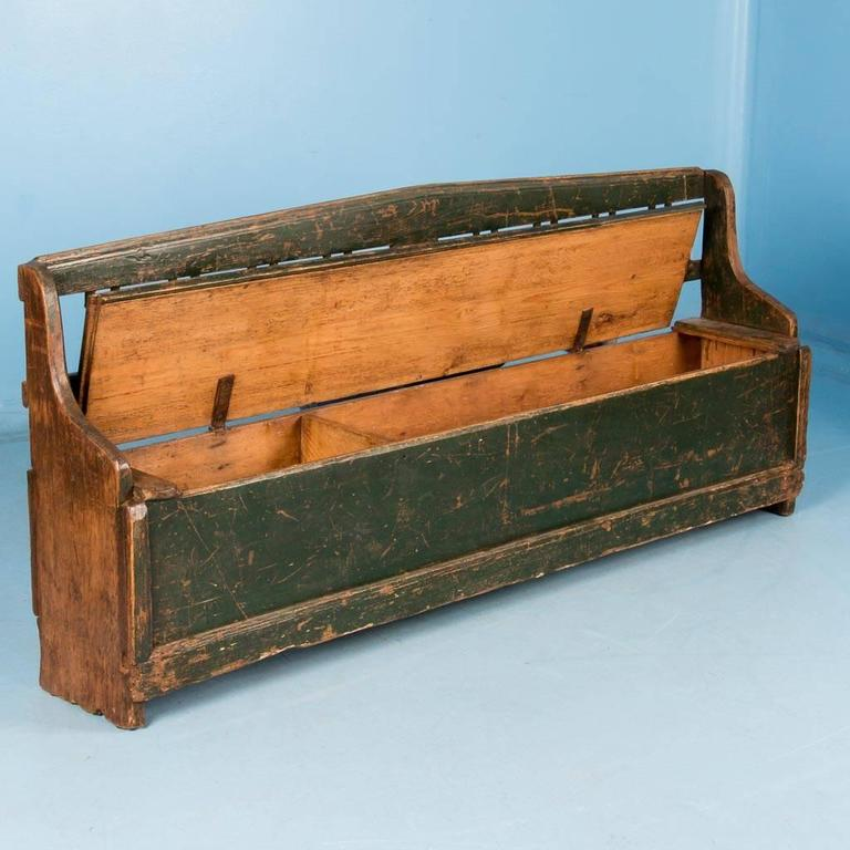Antique 19th Century Hungarian Storage Bench With Original Green Paint At 1stdibs