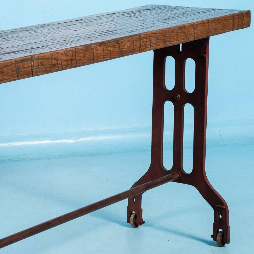 Long American Made Industrial Reclaimed Oak Console Table with Cast ...