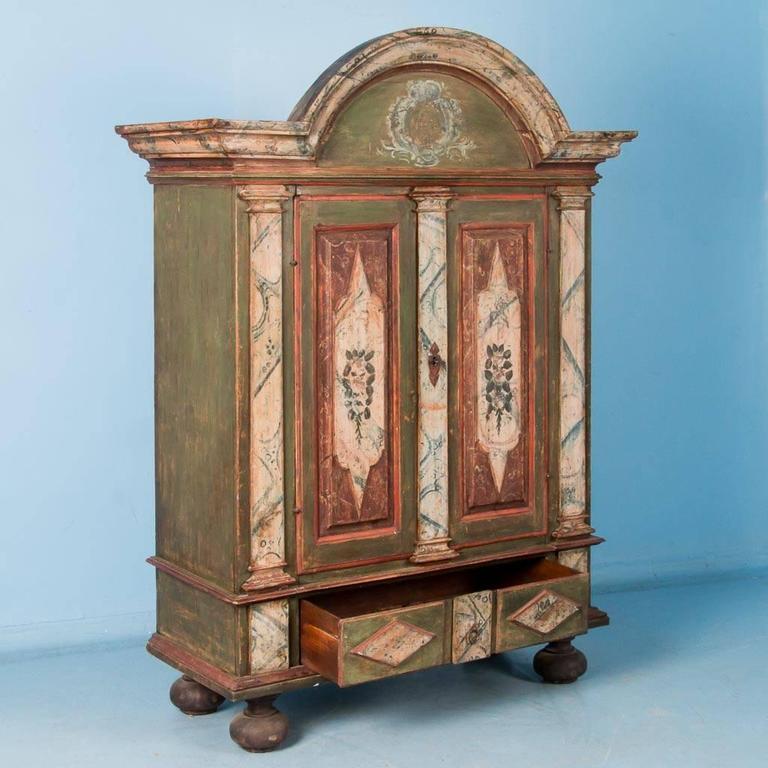 Antique 18th century danish baroque armoire with original for Baroque 2 door accent cabinet