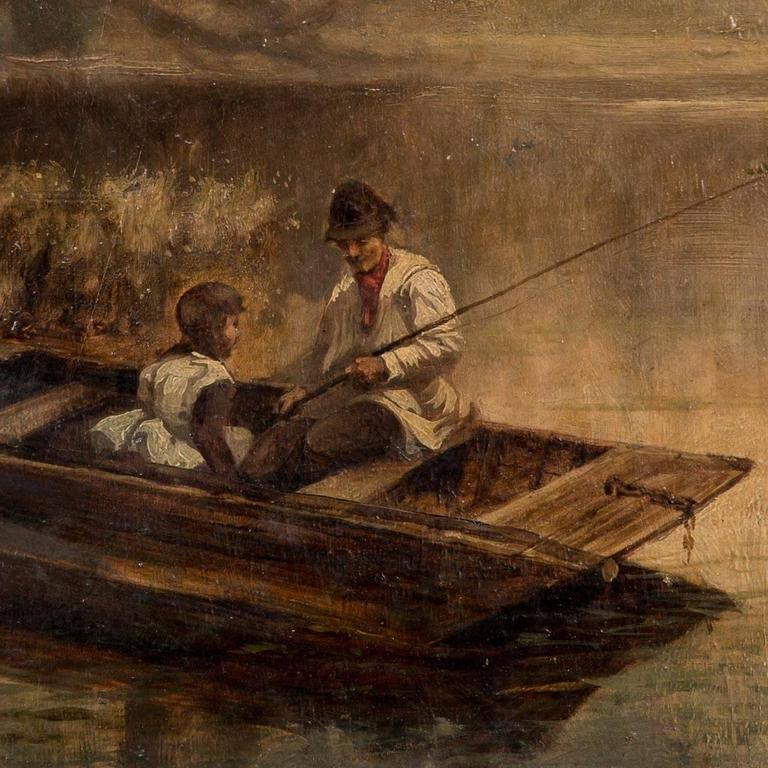 19th Century, English Oil Painting of a Father and Daughter Fishing on a  Lake For Sale at 1stDibs