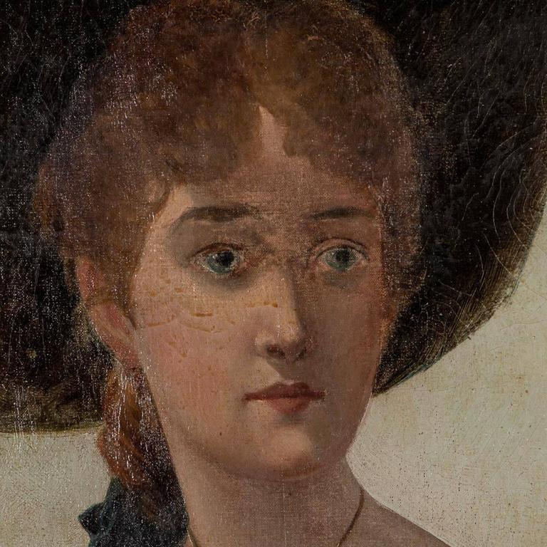 Antique 19th Century English Oil Painting Portrait of a Young Woman In Good Condition For Sale In Denver, CO