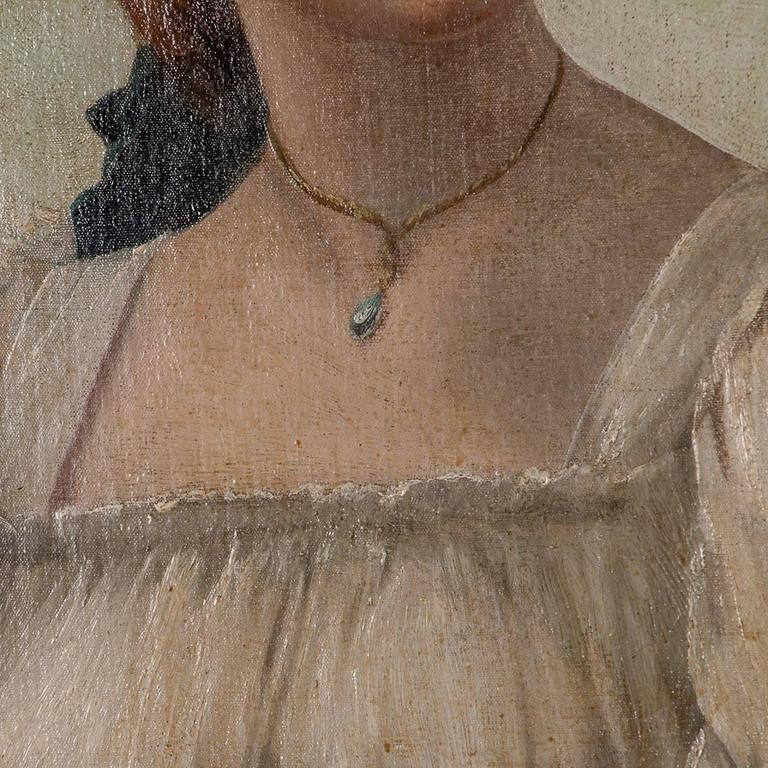 Antique 19th Century English Oil Painting Portrait of a Young Woman For Sale 1