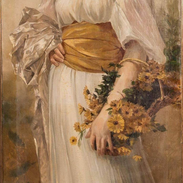 Antique 19th Century English Oil Painting Portrait of a Young Woman For Sale 2