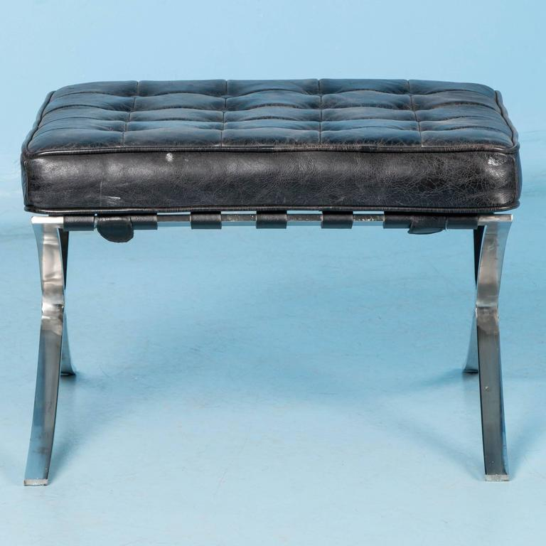 Super Vintage Looking Black Leather Barcelona Style Ottoman With Theyellowbook Wood Chair Design Ideas Theyellowbookinfo