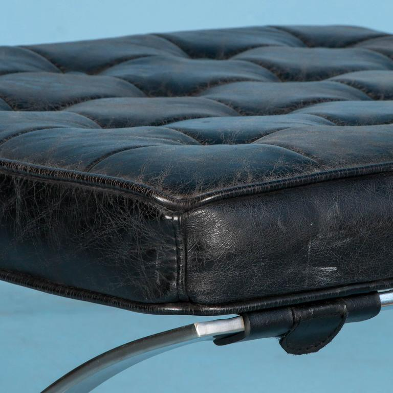 Vintage Looking Black Leather Barcelona Style Ottoman With