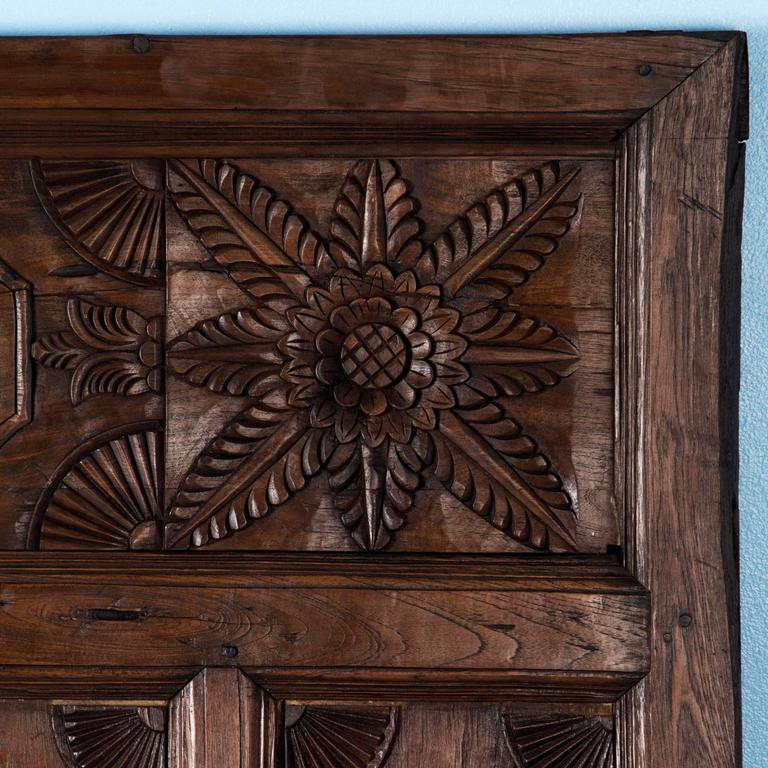 Antique Early 20th Century Carved Teak Bed Panel From Java