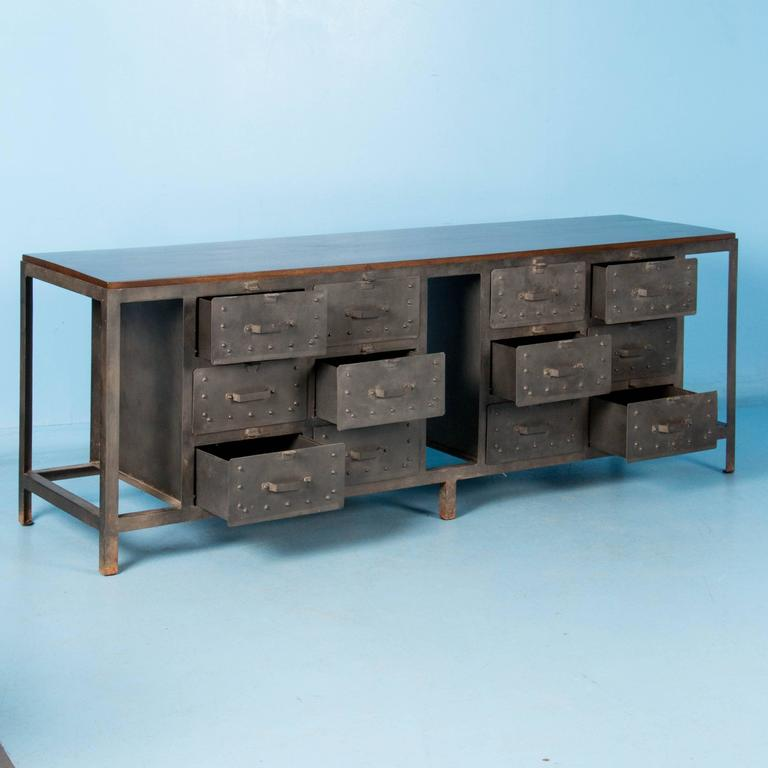industrial looking multi drawer metal sideboard with hardwood top at 1stdibs. Black Bedroom Furniture Sets. Home Design Ideas
