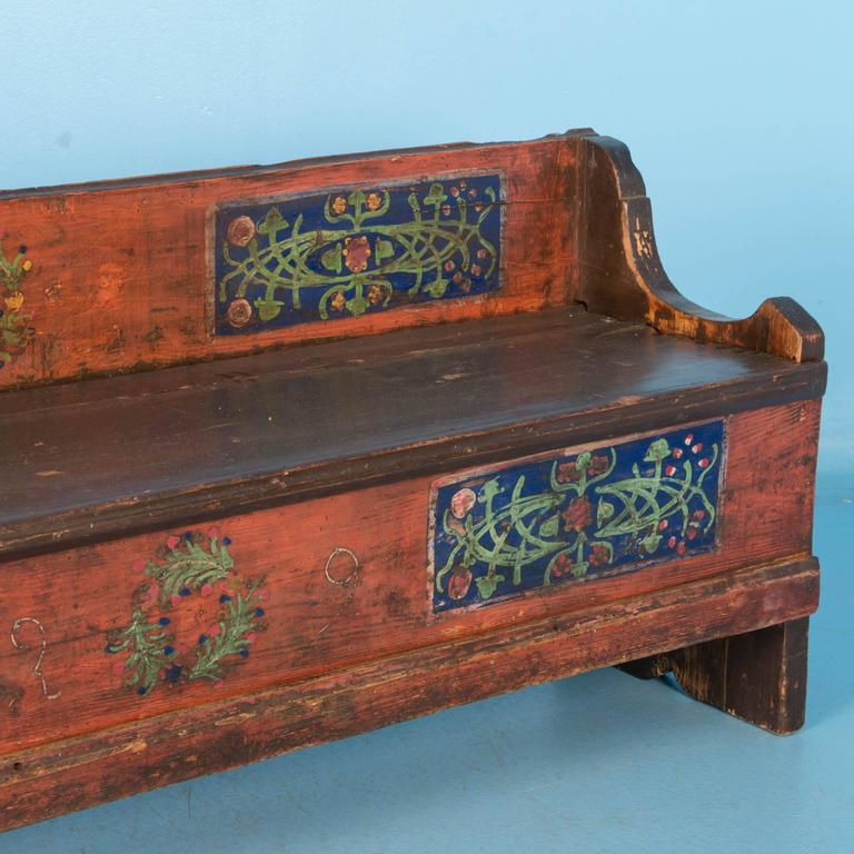 Long Early 20th Century Romanian Storage Bench With Original Folk Art Paint At 1stdibs