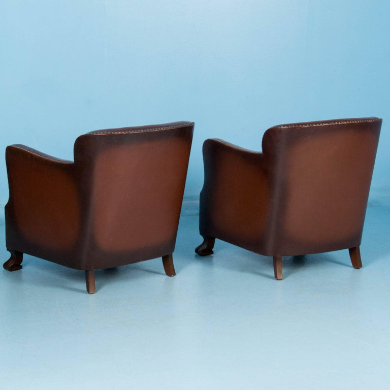 Pair of vintage upholstered danish leather club chairs at for Small club chairs upholstered