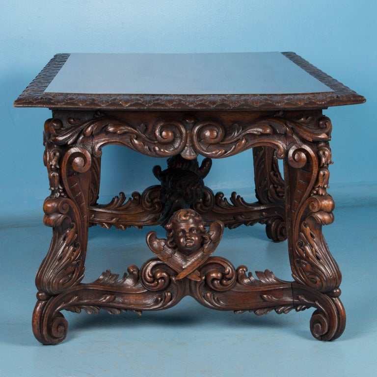 Renaissance Revival Exceptional Antique Hand Carved French Library Table With Cherubs For