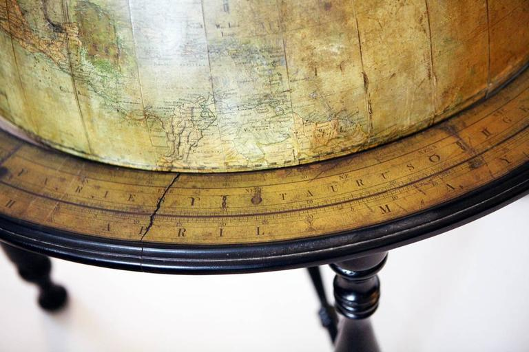 Brass Large Terrestrial Library Globe For Sale