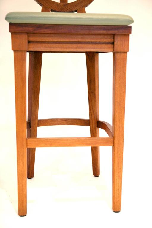 Set Of Three Mcguire Portico Teak Barstools With Leather