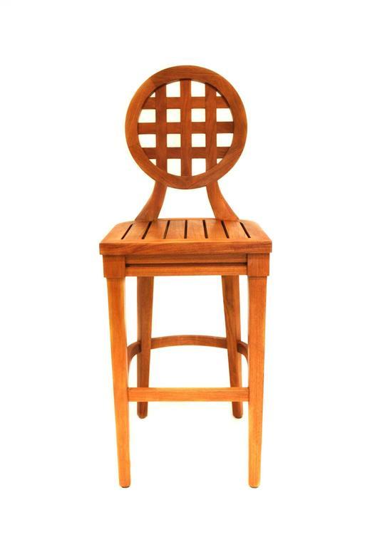 Set Of Three Mcguire Portico Teak Barstools With Leather