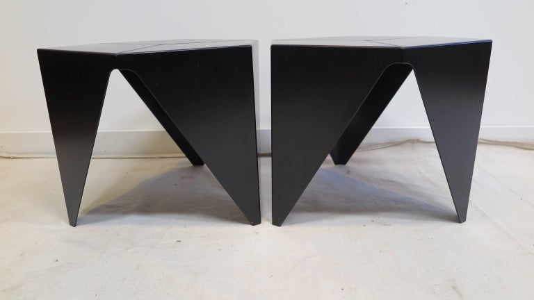 Isamu Noguchi prism tables originally designed in 1957, these being authorized reedtion's dated 2002. In very good condition light surface ware. Powder coated Aluminium. Priced individually at $550.00 each, pair available.   Noguchi table, side