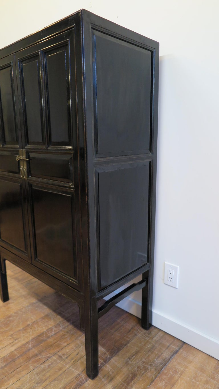 Cypress Chinese Black Lacquer Cabinet For Sale