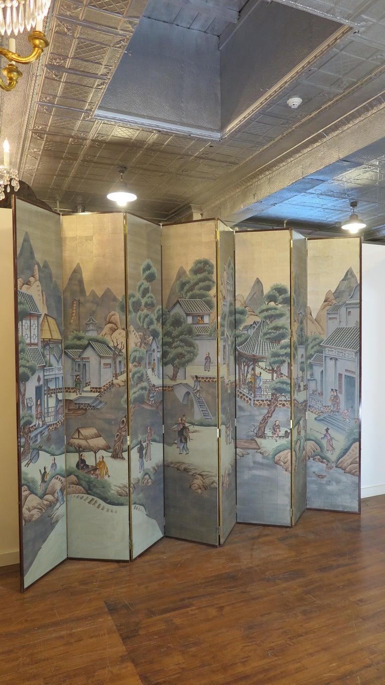 Hand-Painted Chinese Eight Panel Painting Folding Screen For Sale
