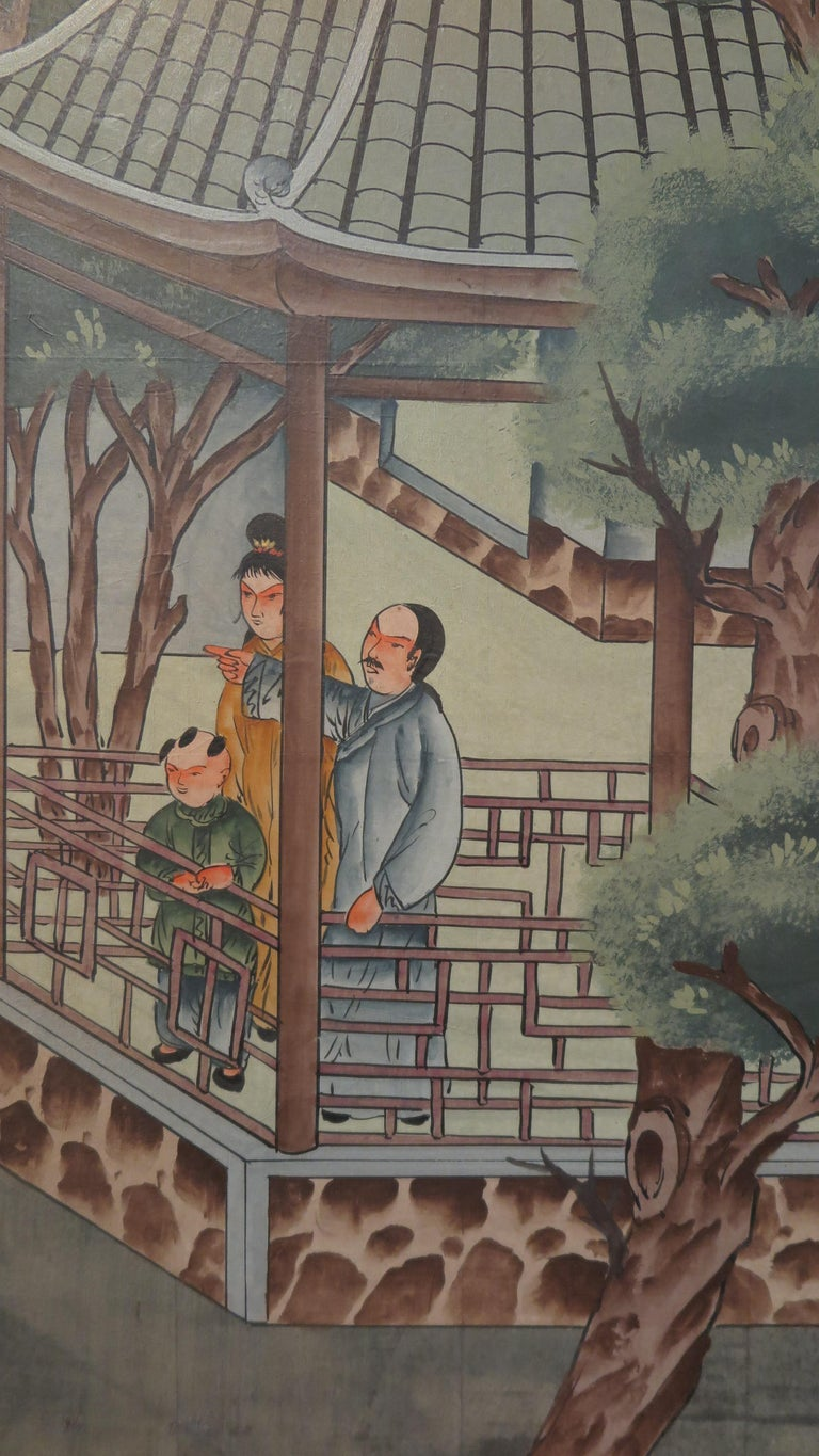 20th Century Chinese Eight Panel Painting Folding Screen For Sale