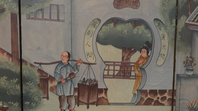 Chinese Eight Panel Painting Folding Screen In Good Condition For Sale In New York, NY