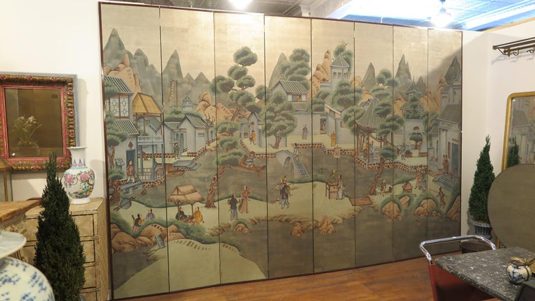 Silver Leaf Chinese Eight Panel Painting Folding Screen For Sale