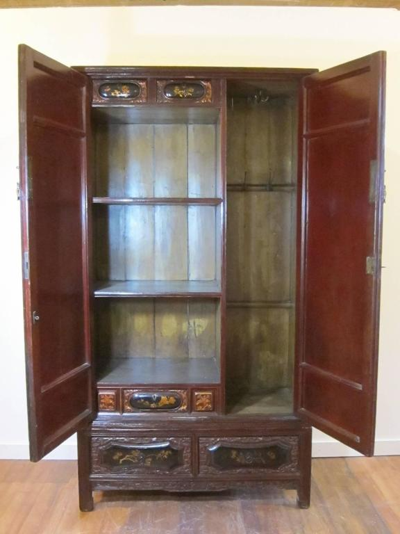 Qing 19th Century Gilt Painted Cabinet For Sale