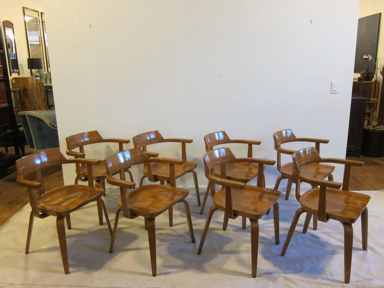 """Walter Gropius and Ben Thompson """"W199"""" armchairs set of eight. Designed in 1951 with Benjamin Thompson a fellow professor at Harvard. Gropius' principal of the firm """"The Architects' Collaborative"""" established with Thompson and"""