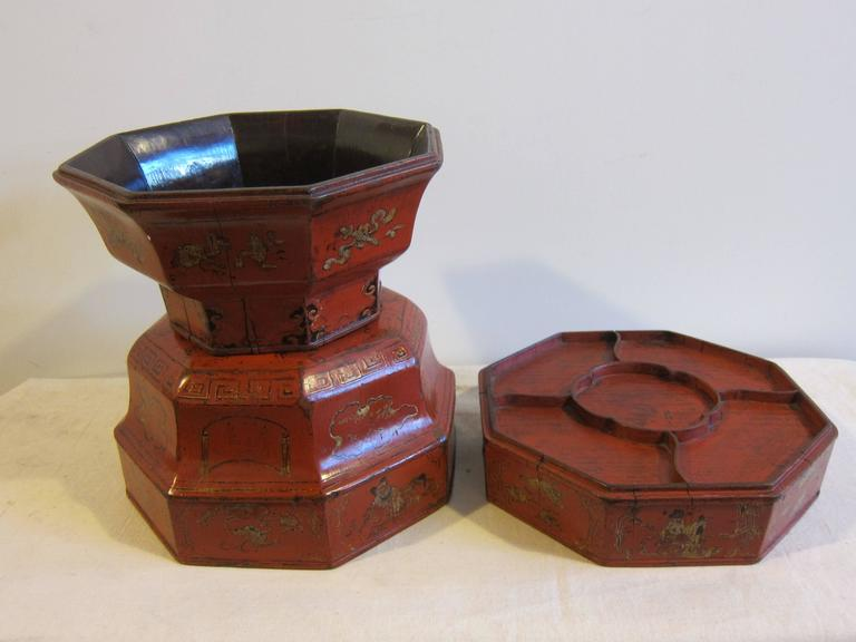 Chinese 19th Century Octagon Wooden Bowl Box For Sale