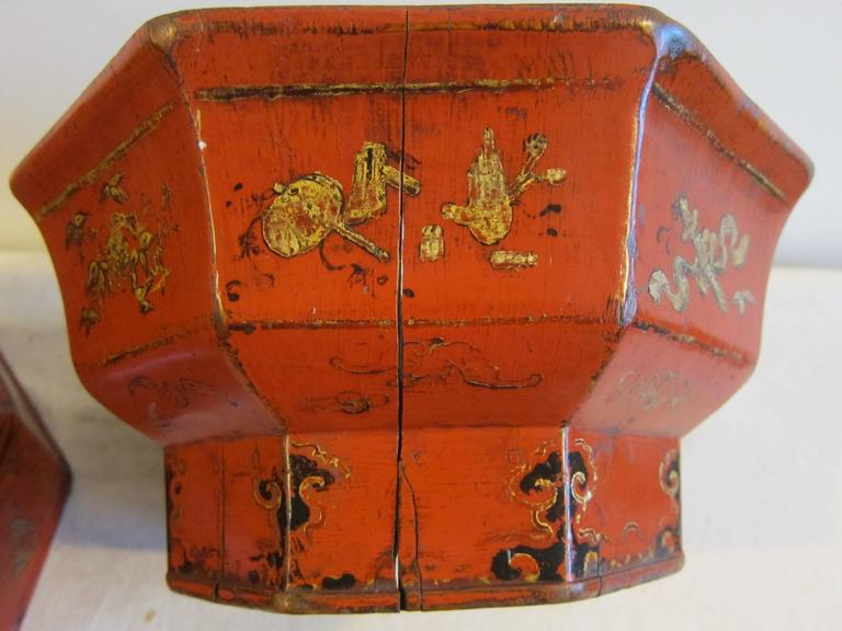 19th Century Octagon Wooden Bowl Box For Sale 3