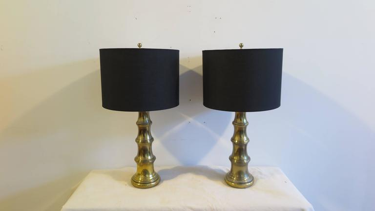 Mid-Century Modern Pair of Brass Lamps by Stiffel For Sale