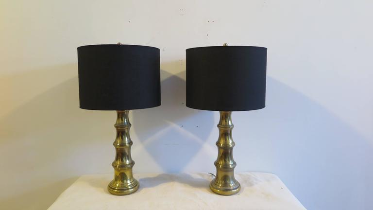 American Pair of Brass Lamps by Stiffel For Sale