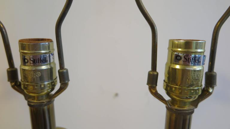 Mid-20th Century Pair of Brass Lamps by Stiffel For Sale