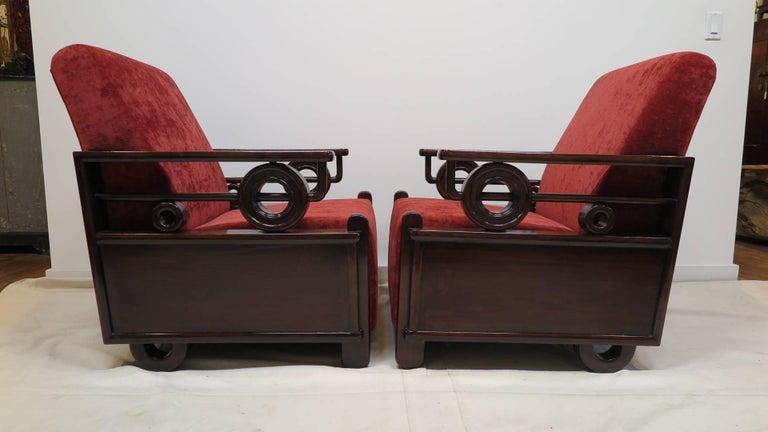 Pair Art Deco Club Chairs 6
