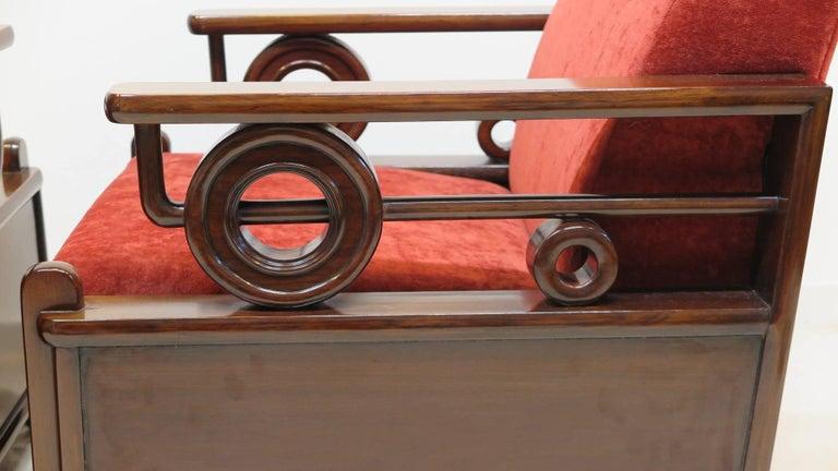 Pair Art Deco Club Chairs 7