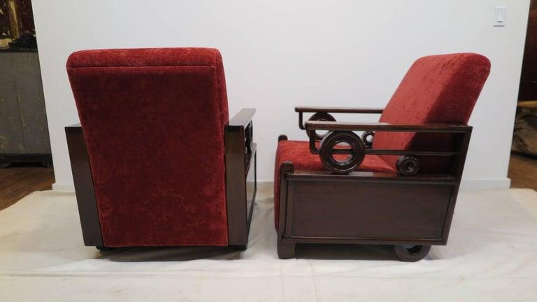 Pair Art Deco Club Chairs 8