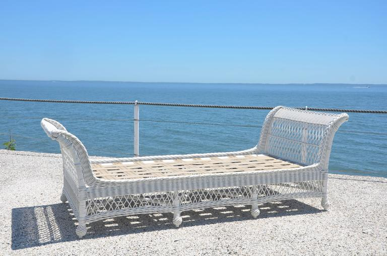 Early 20th Century Antique Bar Harbor Wicker Bed For Sale