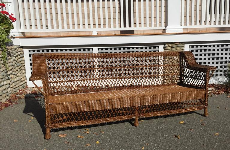 Antique Shelf Back Bar Harbor Wicker Sofa In Rich Natural Stain Most Likely Made By