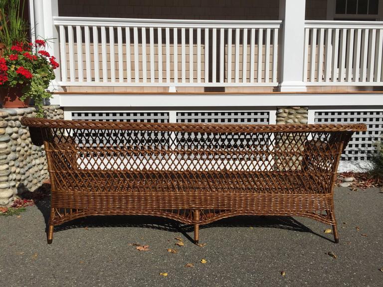 Hardwood Antique Bar Harbor Wicker Sofa
