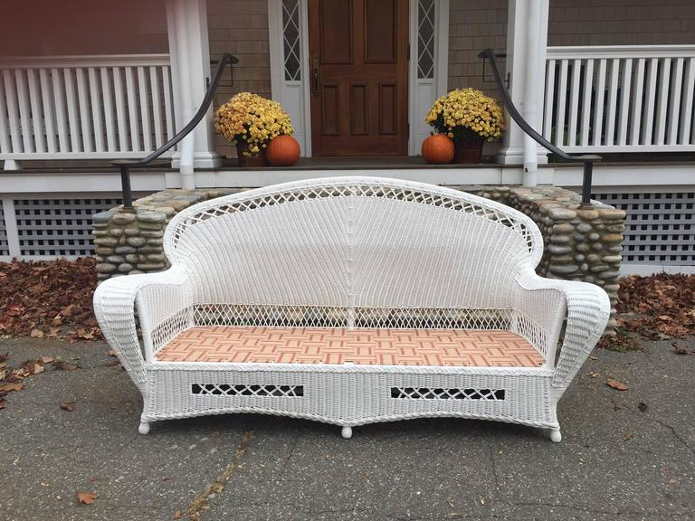 Antique Wicker Parlor Set In Excellent Condition For Sale In Old Saybrook, CT