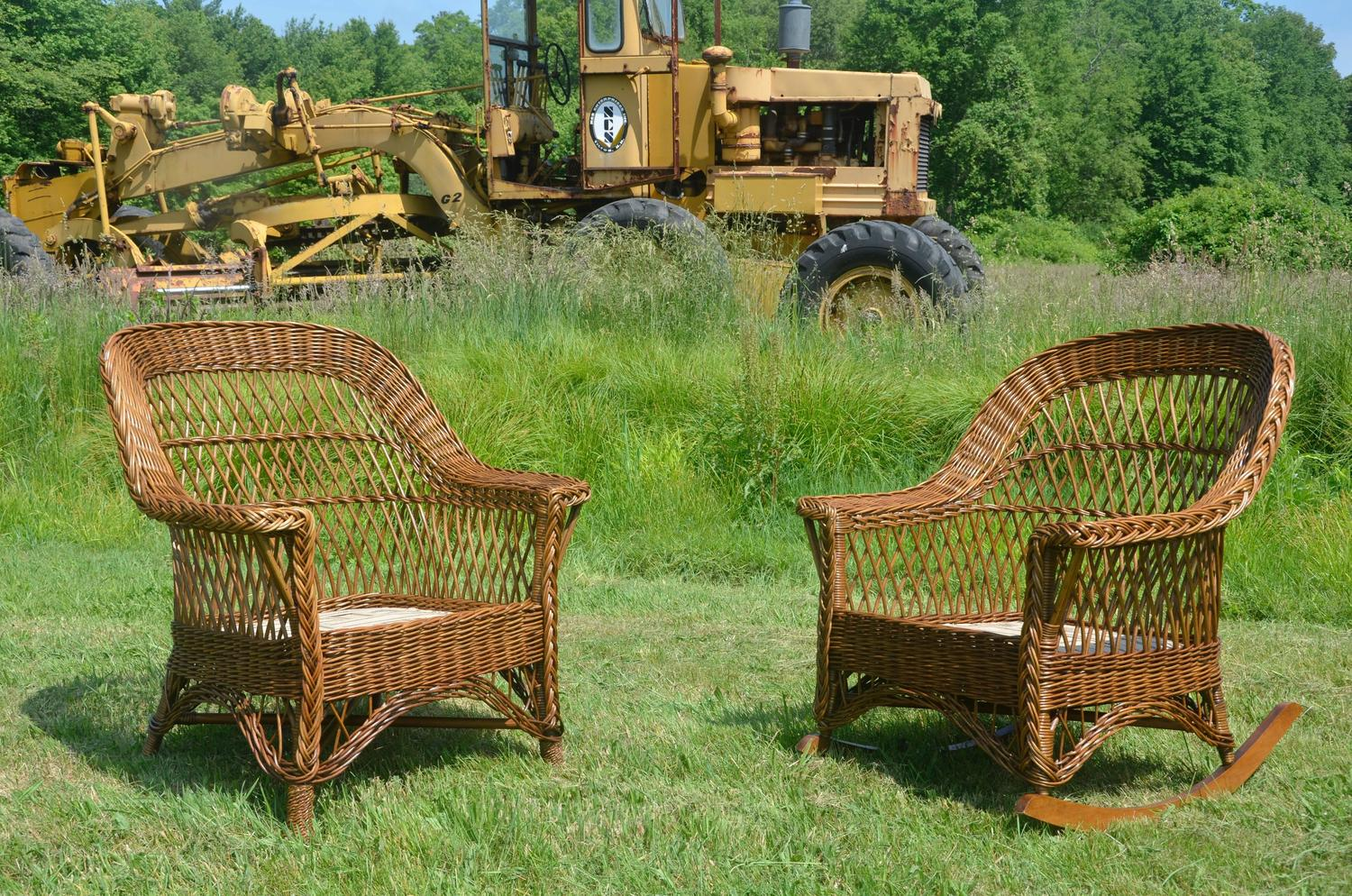 Antique Heywood Wakefield Bar Harbor Wicker Chair And