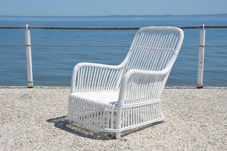 Heywood Wakefield Stick Wicker Lounge Chair At 1stdibs