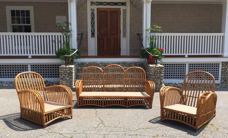 Antique Heywood Wakefield Stick Wicker Set At 1stdibs