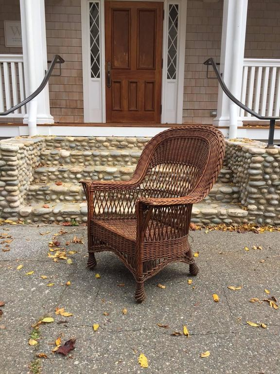 Antique willow armchair with woven seat and feet in original natural  finish. A rare and - Antique Willow Wicker Chair At 1stdibs