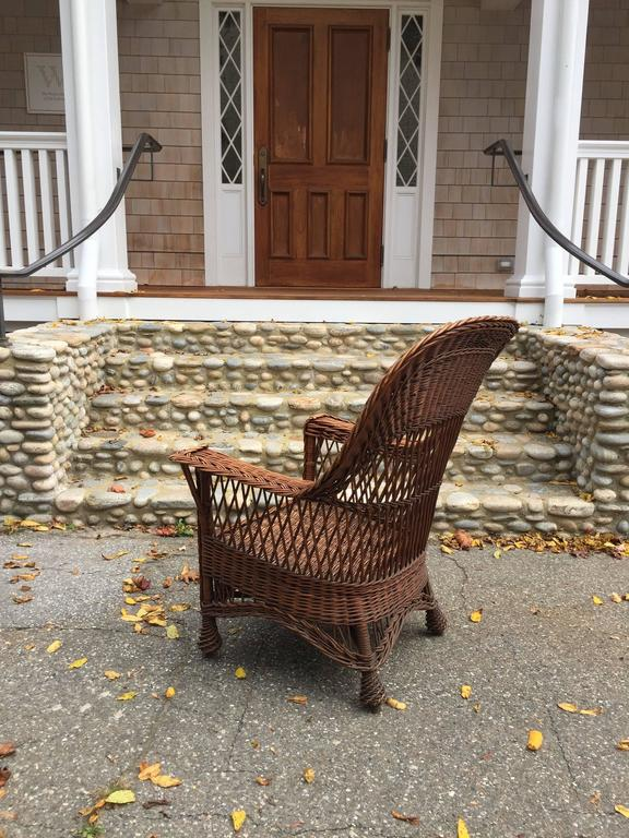 Antique Willow Wicker Chair In Excellent Condition For Sale In Old Saybrook,  CT