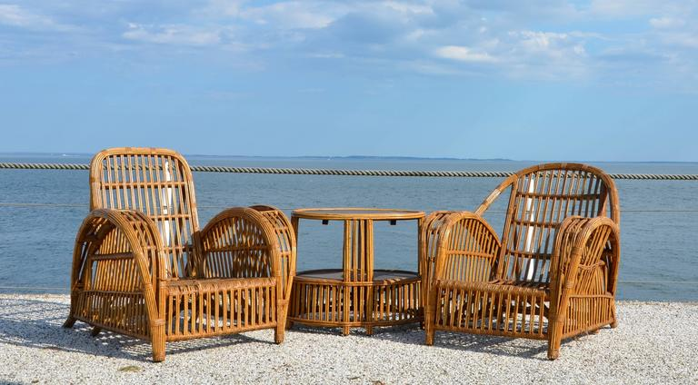 Vintage 1940s Rattan Stick Wicker Patio Furniture at 1stdibs