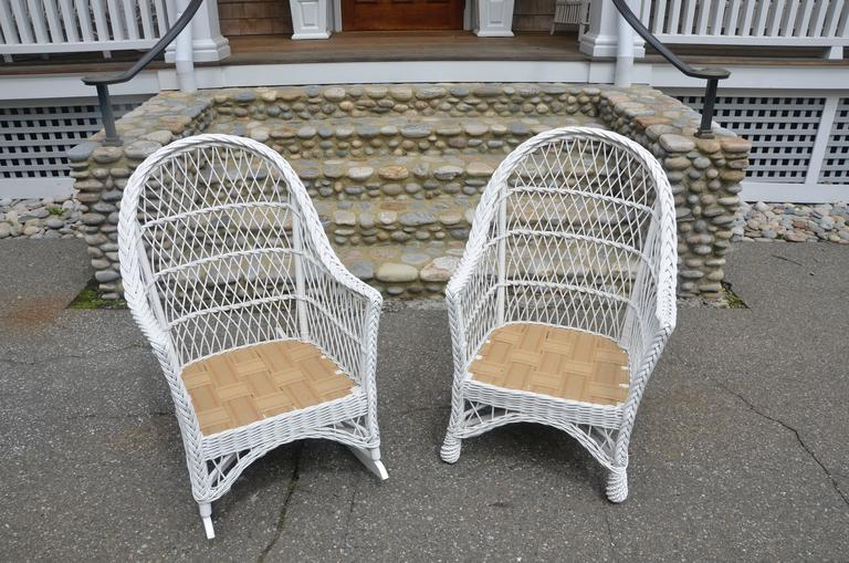 Vintage Bar Harbor Wicker Chair And Rocker For Sale At 1stdibs