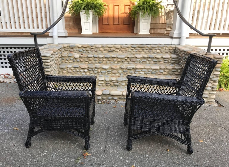 Antique Bar Harbor Wicker Willow Chairs At 1stdibs