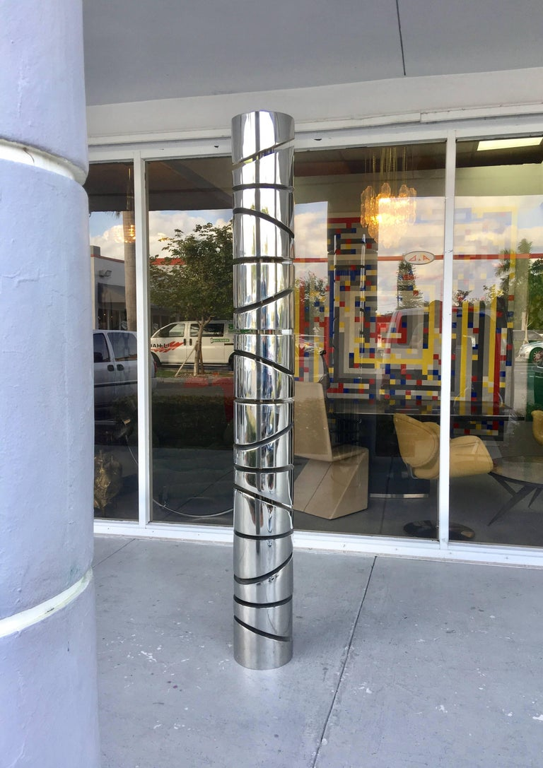Late 20th Century Itzhak Shmueli Unique Stainless Steel Tower Sculpture For Sale